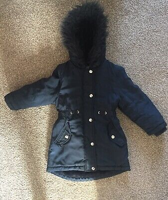 Girls Blue Zoo Winter Coat Age 5-6 Years Navy Parka Style • 3£