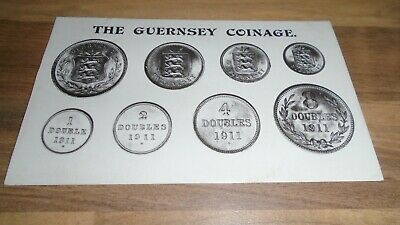 1913 - THE GUERNSEY COINAGE - VINTAGE POSTCARD - Fred Tozer,12 Smith St,Guernsey • 1.99£