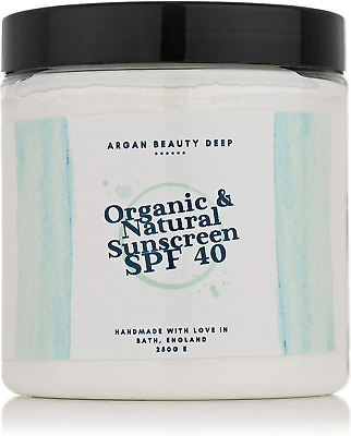Natural Organic Sunscreen SPF40 250g / For Children And Adults/Handmade With & • 30.57£