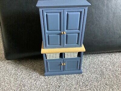 Dolls House 1/12th Scale Blue Modern Kitchen Cupboard, With Basket Drawers • 9.99£