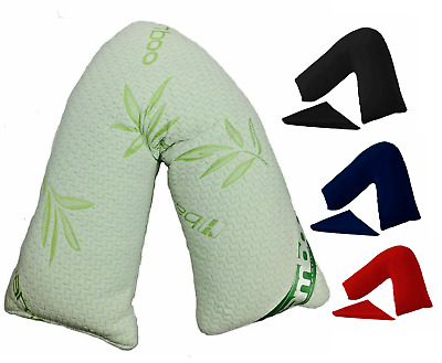 V Shape Bamboo Pillow Memory Foam Neck Pillow Orthopaedic With Pillow Covers New • 4.98£