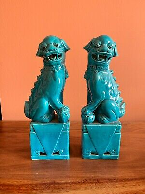 Unusual Chinese Pair Large Porcelain Foo Dogs - Vintage Turquoise Blue 10 Inches • 125£