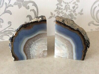 Large Polished Agate Geode Book Ends Pair VGC Blue And Crystal • 17£