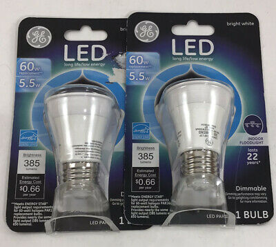 $13.95 • Buy Lot Of 2 GE 5.5W PAR16 LED Bulb No 26384 Dimmable 60W Floodlight Bright White