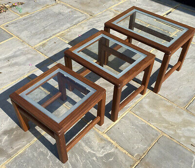 Nest Of Tables Wooden With Glass Tops Scandinavian ? Great Quality  • 10£