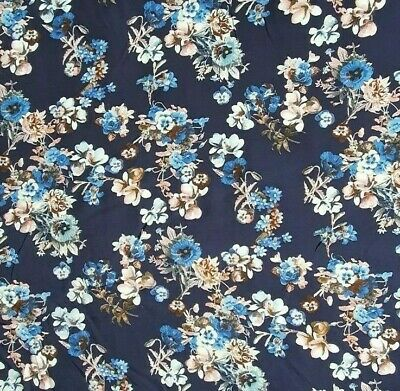£3.75 • Buy 100% Viscose Fabric Floral Flowers Dress Material Dressmaking Sewing