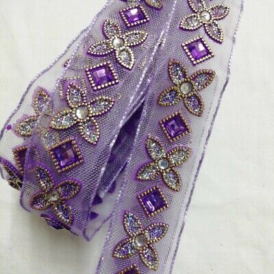 Purple Flower Lace With Gems / 1 Full Metre • 3£