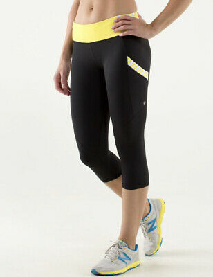 $ CDN65 • Buy LULULEMON Black/ Twin Stripe Sizzle RUN: MOD MOVES CROP/ Tights/ Pants Size 6