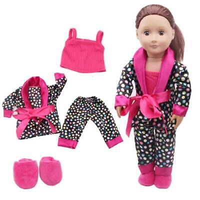 5pcs Clothes Shoes For 18'' Inch American Girl Our Generation Dolls Pajamas Set • 5.99£