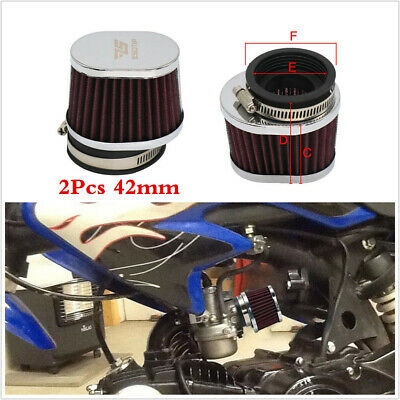 £15.20 • Buy 42mm Motorcycle Air Filters Breather Oval High Flow Air Intake Cone Filter 2Pcs