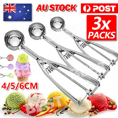 AU15.95 • Buy 3Pc 4/5/6cm Cake Mechanical Cookie Dough / Ice Cream Scoop Stainless Steel Spoon