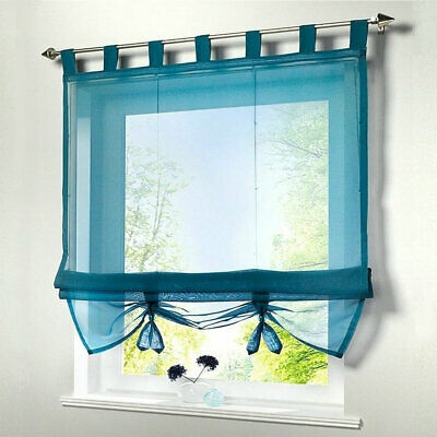 Translucent Roman Blind Drapes Top Loops Voile Window Curtain Liftable Panels • 12.99£