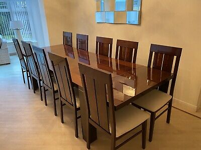 Dining Room 10 Seater Table And Chairs Italianate Dark Wood. Very Good Condition • 900£
