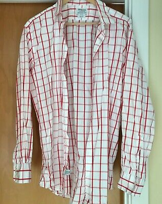 T.M. Lewin Shirt Red White 17.5  - 36  Slim Fit Double Button Cuff  • 12.99£