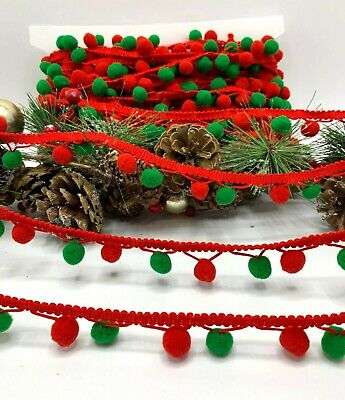 Red And Green Pom Pom Trim Christmas Crafts Sew On 25mm Deep Decor Bags Cushions • 3.75£