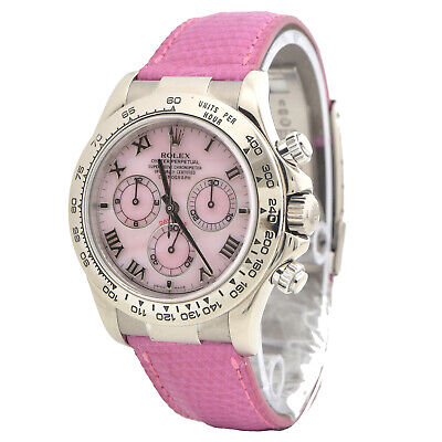 $ CDN62171.54 • Buy Rolex BOX & PAPERS Daytona Beach 116519 In White Gold With Pink Mother Of Pearl