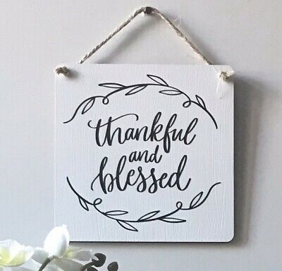 Handmade Wooden Sign - Home Decor Wall Plaque - Thankful And Blessed • 5.50£