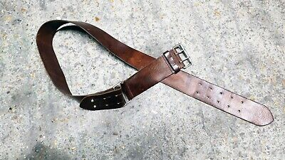 BURBERRY Leather Belt Double Buckle Brown Military Mes Womens Unisex Coat • 60£