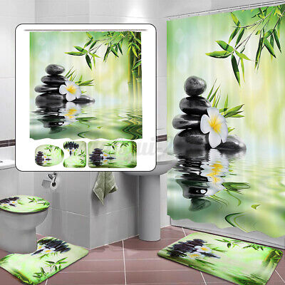 4Pcs/Set Waterproof Bamboo Shower Curtain Bathroom Toilet Seat Mat Cover Rug  • 11.99£