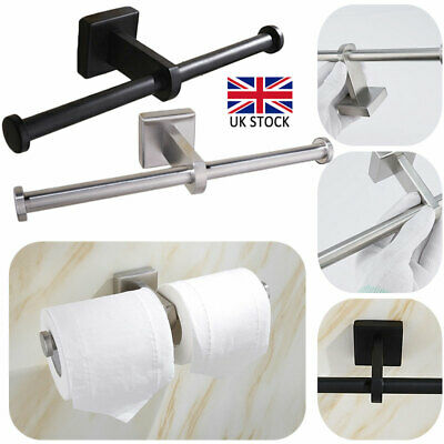 Double Toilet Roll Paper Holder Stand Wall Mounted Tissue Rail Stainless Steel • 11.09£