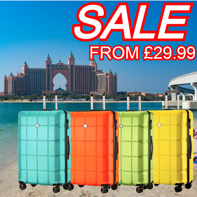 28  4 Wheel Lightweight Suitcase Medium/Large ABS Hard Shell Luggage Travel Case • 29.99£