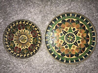 Old Heavy Brass/Bronze Cloisonne Plates X2 Indian? • 9.99£