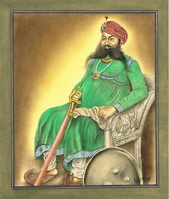 $69.99 • Buy Handmade Indian Miniature Painting Of Indian Maharajah King On Paper Wall Decor