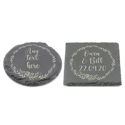 Personalised Slate Coaster, Custom Name Laser Engraved Gift Birthday  • 3.99£