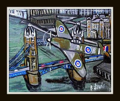 £157.50 • Buy Original Northern Art Oil Painting Phil Lewis Spitfire Over London 10  X 8