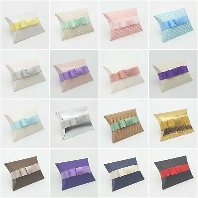 £1.75 • Buy Pillow Shaped Jewellery Wedding Gift Favour Boxes - With Or Without Ribbon & Bow