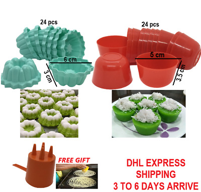 24+24pcs Kue Talam Cucing Puto Mold Round Small Steamed Rice Cake Asian Dessert • 20.66£