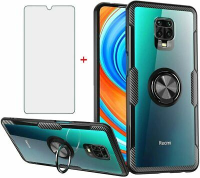 $15.67 • Buy For Xiaomi Redmi Note 9S Case With Tempered Glass Magnetic Stand, Ring Black