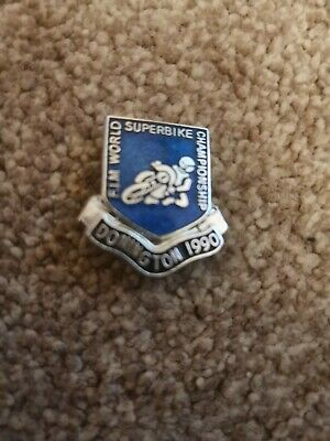 1990 World Superbike Motorcycle Biker Pin Badge Donnington Park Motorsport • 1.20£