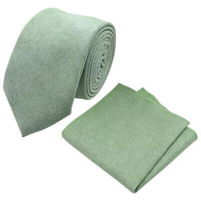 £17 • Buy Sage Green Cotton Blend Skinny Tie & Pocket Square Set. Great Quality & Reviews.