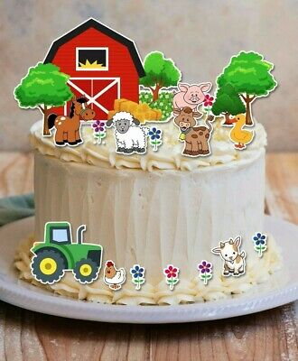 AU15 • Buy FARM YARD BARN ANIMALS & TRACTOR Stand-up Wafer Card Cake Scene Edible Toppers