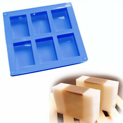 6 Cavities Silicone Rectangle Handmade Soap Cake Making Mold Craft Supplies Uk • 4.59£