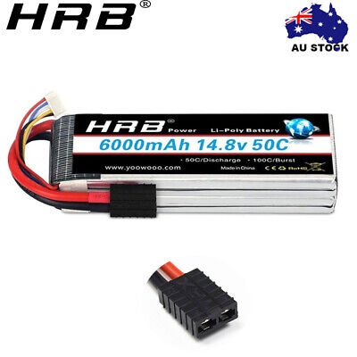 AU80.99 • Buy HRB LiPo Battery 4S 14.8V 6000mAh 50C TRX For RC Airplane Helicopter Car Boat AU