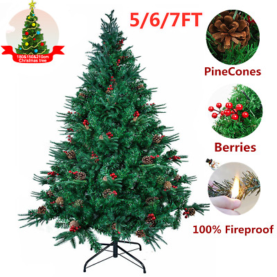 5/6/7FT Metal Stand Christmas Tree Spray White With Pine Cones Xmas Party Decor • 35.99£