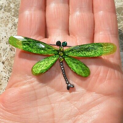 £9 • Buy Art Deco Dragonfly Brooch Green Butterfly Insect Pin Broach Vintage Style Gift