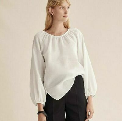 AU49.99 • Buy NWT Country Road Gathered Neck Blouse [8, 12, 14] White Peasant Top Long Sleeve