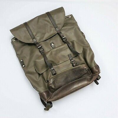 Vintage Swiss Army Rubberized Mountain Military Rucksack Backpack Leather Straps • 85.02£