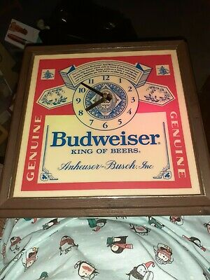 $ CDN189.39 • Buy VTG 80's Budweiser King Of Beers Lighted Sign Clock Tested & Working MINT NOS