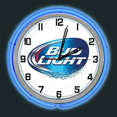 $ CDN210.40 • Buy 19  Bud Light Beer Sign Blue Double Neon Clock Man Cave Bar Garage