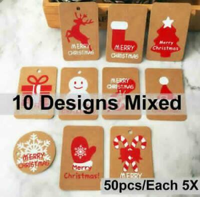 50Pcs New Christmas Kraft Paper Gift Tags Scallop Label Luggage Blank + Strings • 3.69£