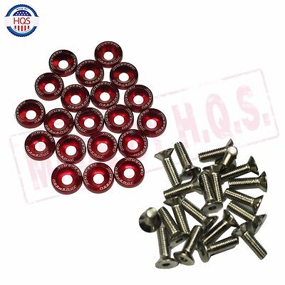 $8.86 • Buy 20 Pcs Red  Billet Aluminum Fender/bumper Washer/bolt Engine Bay Dress Up Kit