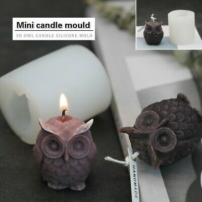 3D Owl Silicone Candle Mold Mould Chocolate Polymer Clay Soap Candle Wax Resin • 6.59£