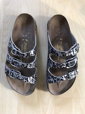 Birkenstock Papillio Silver/Black Patterned 3 Strap Sandals. Size UK 38 • 34.99£
