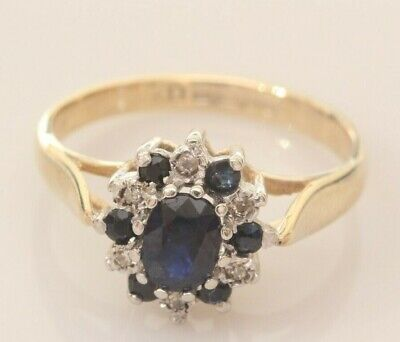 9ct Gold Sapphire And Diamond Cluster Ring Size M • 110£