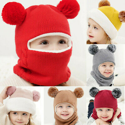 Toddler Kids Baby Boy&Girl Hooded Scarf Caps Hat Winter Warm Knit Flap Cap Scarf • 7.03£