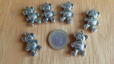 £3 • Buy Pack Of  6 Teddy Bear Charms Antique Silver Coloured - Jewellery Making Crafts